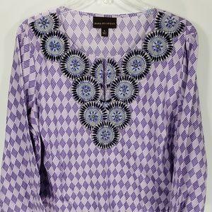 Dana Buchman Embroidered Purple Tunic Women's XL